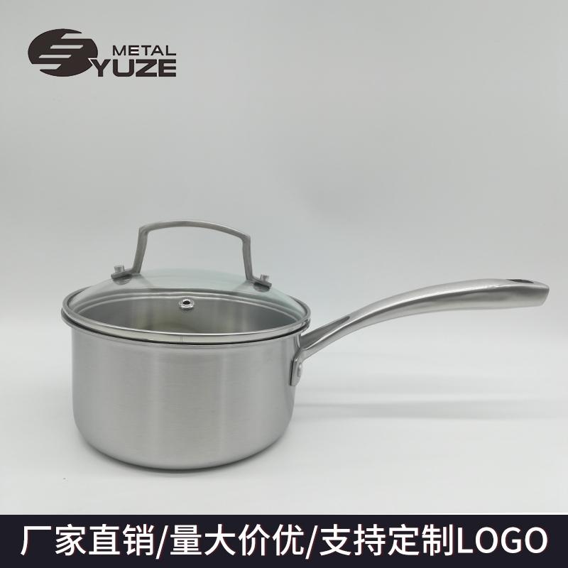 三层钢单柄奶锅复合钢锅具辅食锅